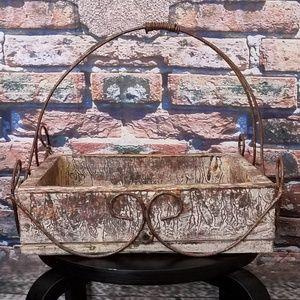 Old Rustic Vintage Iron Handle Wood Basket
